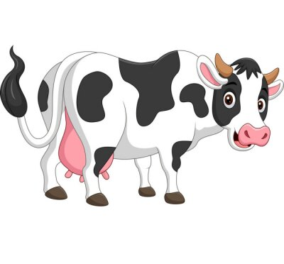 Cartoon happy cow posing isolated on white background