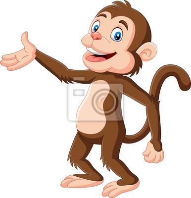 Cartoon happy monkey presenting on white background