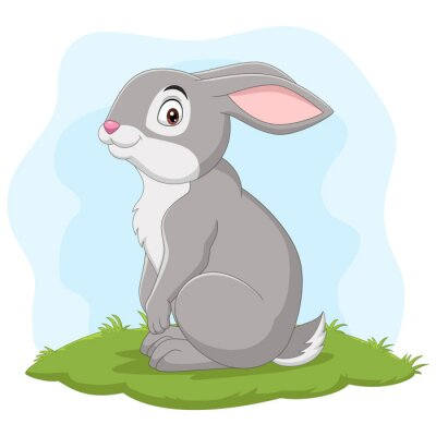 Wall mural Cartoon happy rabbit in the grass