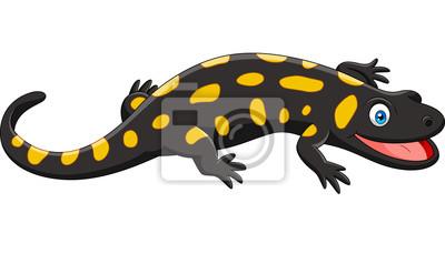 cartoon happy salamander isolated on white background