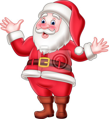 Cartoon happy santa claus waving