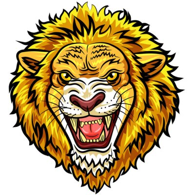 Wall mural Cartoon head angry lion mascot