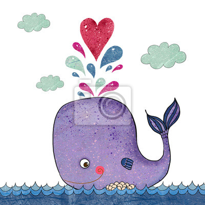 Wall mural Cartoon  illustration with whale and red heart.