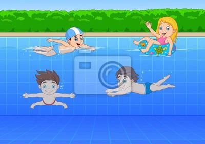 Wall mural Cartoon kids swimming in the pool