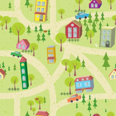 Wall mural Cartoon map seamless pattern with houses and roads