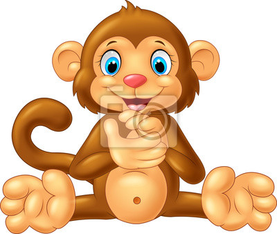 Cartoon monkey clapping hand