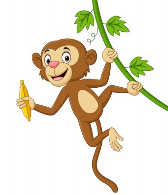 Cartoon monkey hanging and holds banana in tree branch