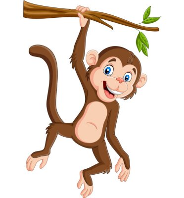Wall mural Cartoon monkey hanging in tree branch