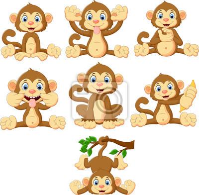 Cartoon monkeys collection set