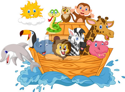 Wall mural Cartoon Noah's ark isolated on white background