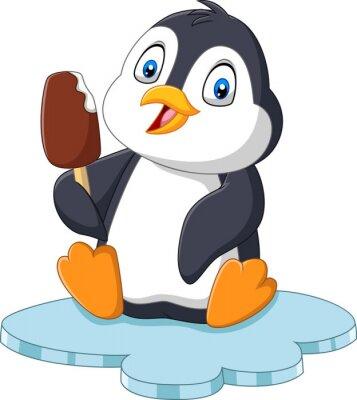 Cartoon penguin holds chocolate ice cream treat