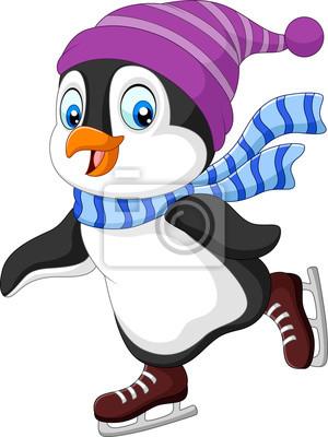 Cartoon penguin ice skating isolated on white background