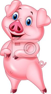 Cartoon pig posing isolated on white background