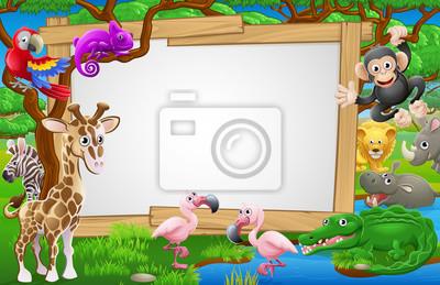 Cartoon Safari Animals Sign