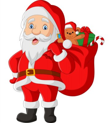 Cartoon Santa Claus carrying a bag of the presents