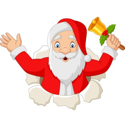 Cartoon Santa Claus holding a bell