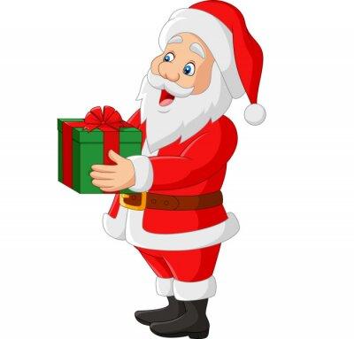 Cartoon Santa Claus holding a gift