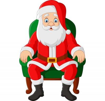 Cartoon santa claus sitting in chair
