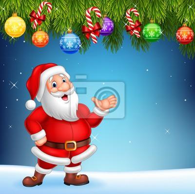 Cartoon Santa Claus waving hand with Christmas decoration