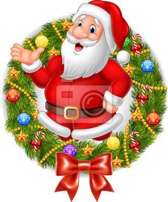 Cartoon santa claus waving hand with Christmas wreath