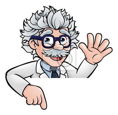 Cartoon Scientist Professor Pointing at Sign