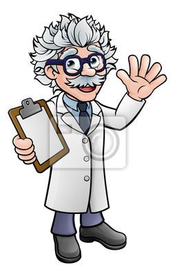 Cartoon Scientist Professor with Clipboard