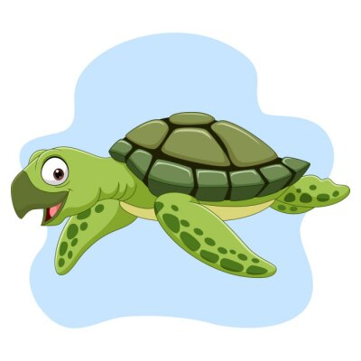 Wall mural Cartoon sea turtle swimming in the ocean