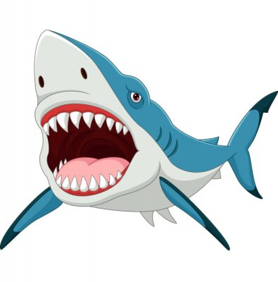 Wall mural Cartoon shark with opened mouth