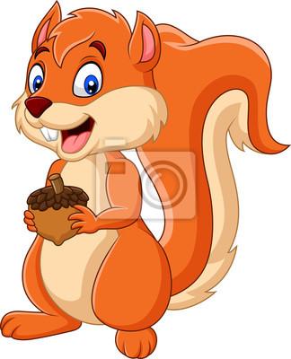 Wall mural Cartoon squirrel holding nut
