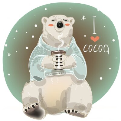 Wall mural Cartoon white bear with cup of hot drink