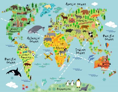 Wall mural Cartoon world map