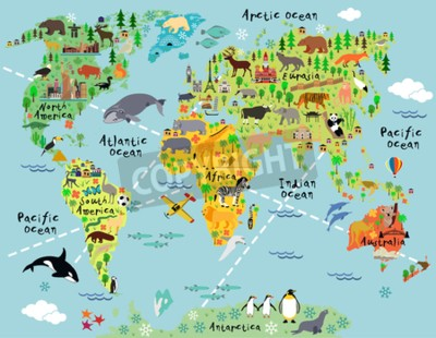 Wall mural Cartoon world map with landscape and animal. Vector illustration.