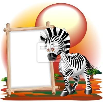 Cartoon Zebra with Zebra Savannah Pannell - Background - Vector