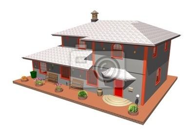 Casa Arancione-Orange House-3D