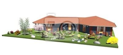 Casa Blu con Giardino-Blue House with Garden-3D