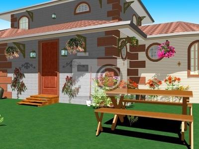 Casa Campagna Dettagio-Country House Garden-3d