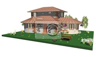 Casa Campagna Giardino-Country House and Garden-3d