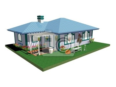 Casa casetta Blu con Pergolato-Blue House with Garden-3D