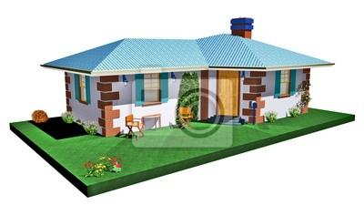 Casa Casetta Blu-Little Blue House-3D
