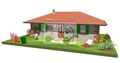 Wall mural Casa Casetta con Giardino-Little House with Garden-3d