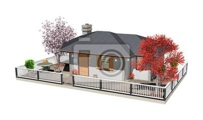 Casa con Albero Rosso-Home with Red Tree-3D