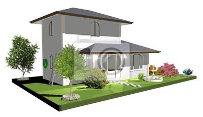 Casa con Fontana-House with Fountain-2-3d