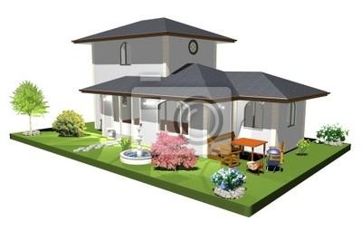 Casa con Fontana-House with Fountain-3d