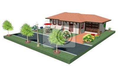 Casa con Garage-House with Garage-3D