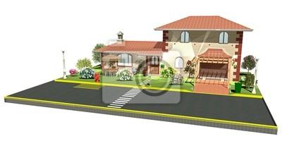 Casa con Garage su Strada-House on the Road-3d