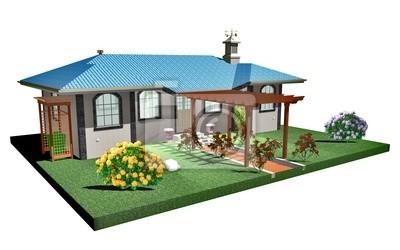 Casa con Pergolato in Legno-House with Wood Arbor-3D