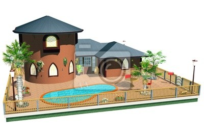 Casa con Piscina-Home with Swimming Pool-3D