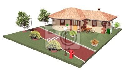 Casa con Strada Privata-House with Private Road-3D