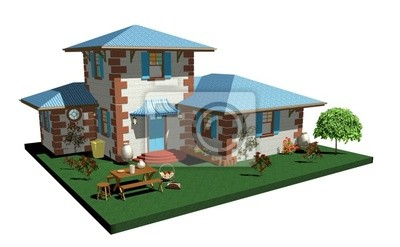 Casa con Tetto Blu-House with Blue Roof-3D