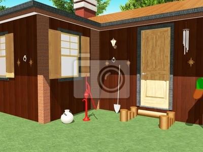 Casa di Legno-Baita Esterno-Wooden House-Chalet-Exterior-3d
